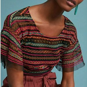 Maeve Naples Embroidered Mesh Blouse